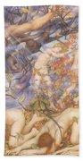 Boreas And Fallen Leaves Beach Towel by Evelyn De Morgan