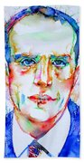 Boris Vian - Colored Pens Portrait Beach Towel