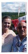 Borsos Anna Ruzsan With Sir Stirling Moss 2012 Beach Towel