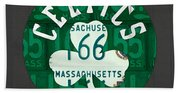 Boston Celtics Basketball Team Retro Logo Vintage Recycled Massachusetts License Plate Art Beach Towel