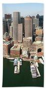 Boston Harbor And Boston Skyline Beach Towel