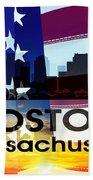 Boston Ma Patriotic Large Cityscape Beach Towel