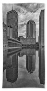 Boston Reflections Bw Beach Towel