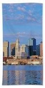 Boston Skyline And Harbor, Massachusetts Beach Towel