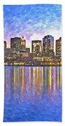 Boston Skyline By Night Beach Towel
