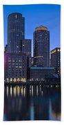 Boston Skyline Seaport District Beach Towel