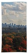Boston Skyline View From Mt Auburn Cemetery Beach Towel