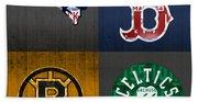 Boston Sports Fan Recycled Vintage Massachusetts License Plate Art Patriots Red Sox Bruins Celtics Beach Towel