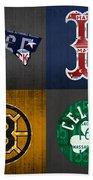 Boston Sports Fan Recycled Vintage Massachusetts License Plate Art Patriots Red Sox Bruins Celtics Beach Sheet