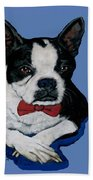 Boston Terrier With A Bowtie Beach Towel
