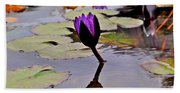 Botanical Garden Lotus Flowers Beach Towel