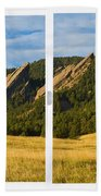 Boulder Colorado Flatirons White Window Frame Scenic View Beach Sheet