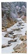 Boulder Creek Frosted Snowy Portrait View Beach Towel