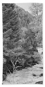 Boulder Creek Winter Wonderland Black And White Beach Towel