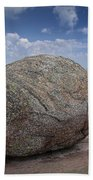 Boulder On Top Of Cadilac Mountain In Acadia National Park Beach Towel