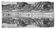Boulder Reservoir Flatirons Reflections Boulder Co Bw Beach Towel