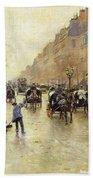 Boulevard Poissonniere In The Rain, C.1885 Oil On Canvas Beach Towel