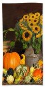 Bountiful Harvest - Floral Painting Beach Towel