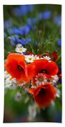 Bouquet Of Fresh Poppies Camomiles And Cornflowers Beach Towel