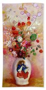 Bouquet Of Flowers In A Japanese Vase Beach Towel by Odilon Redon
