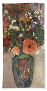 Bouquet Of Flowers In A Vase Beach Towel by Odilon Redon