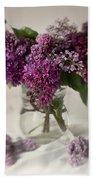 Bouquet Of Lilacs In A Glass Pot Beach Towel