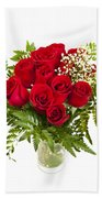 Bouquet Of Red Roses Beach Towel by Elena Elisseeva