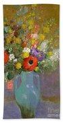 Bouquet Of Wild Flowers  Beach Towel by Odilon Redon
