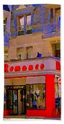 Boutique Erotique Romance Mont Royal The Love You Make Is Equal To The Love You Take City Scene Art Beach Towel