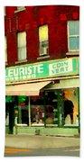 Boutique Fleuriste Coin Vert St Henri Flower Shop Notre Dame Montreal Urban Scenes Carole Spandau  Beach Towel