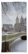 Bow Bridge Central Park In Winter  Beach Towel by Vivienne Gucwa