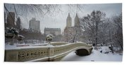 Bow Bridge Central Park In Winter  Beach Towel