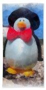 Bow Tie Penguin Photo Art Beach Towel