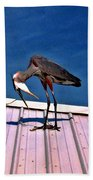 Bowing Blue Heron Beach Towel