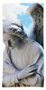Bowing Male Angel With Blue Sky And Clouds Beach Towel