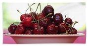 Bowl Of Cherries Closeup Beach Towel