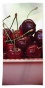 Bowl Of Cherries Closeup Beach Towel by Carol Groenen