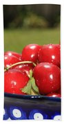Bowl Of Cherries In The Garden Beach Towel