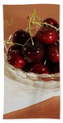 Bowl Of Cherries With Text Beach Towel