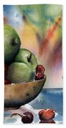 Apples In A Wooden Bowl With Cherries On The Side Beach Towel