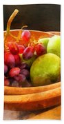 Bowl Of Red Grapes And Pears Beach Towel by Susan Savad