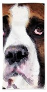 Boxer Art - Sad Eyes Beach Towel by Sharon Cummings