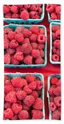 Boxes Of Fresh Red Raspberries Beach Sheet