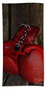 Boxing Gloves Worn Out Beach Towel by Paul Ward