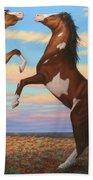Boxing Horses Beach Towel