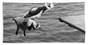 Boy And His Dog Dive Together Beach Towel