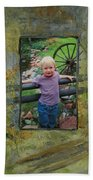 Boy By Fence Beach Towel