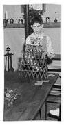 Boy Making A Pyramid Of Cards Beach Towel by Underwood Archives