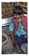 Boy With Grapes - Cusco Market Beach Towel