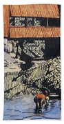 Boys And Covered Bridge Beach Towel by Joseph Juvenal